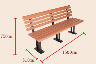 High Quality Plastic Wood Slats Park Bench With Cast Aluminum Legs