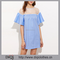 New arrivals Summer high fashion sexy Women Blue Contrast Hollow Out lace Crochet Yoke Dresses