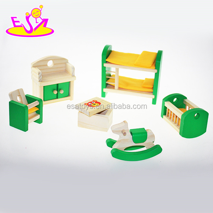 New and Popular Mini Doll House wooden furniture toy for children playing house W06B028