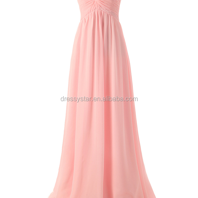 Hot Sales Designer one piece full length pink Chiffon sweetheart Ruched Wedding Party bridesmaid dresses