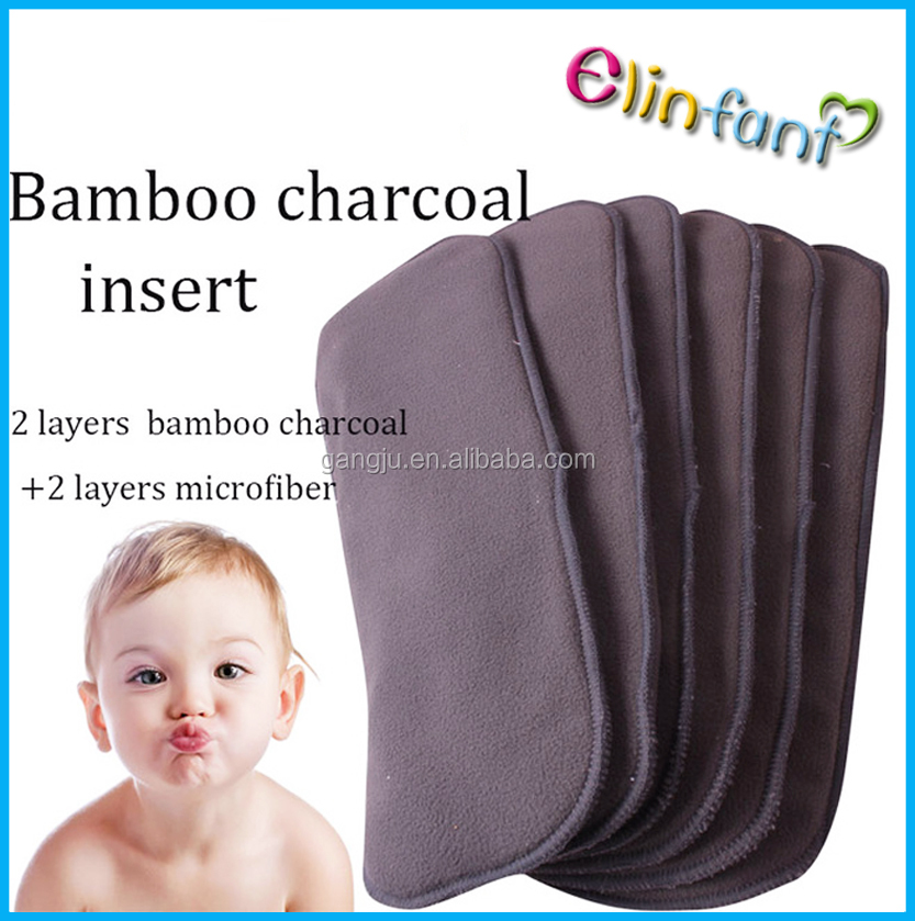Elinfant quality 5 pcs bamboo charcoal washable baby cloth diaper insert