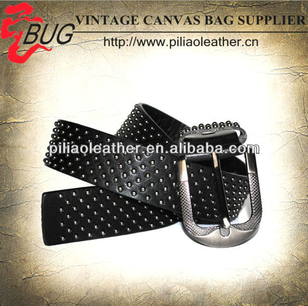 2013 Black Vintage Personalized Leather Belt