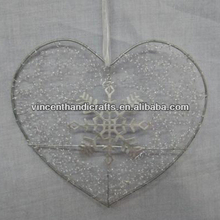 Hanging heart shape ornament with snowflake