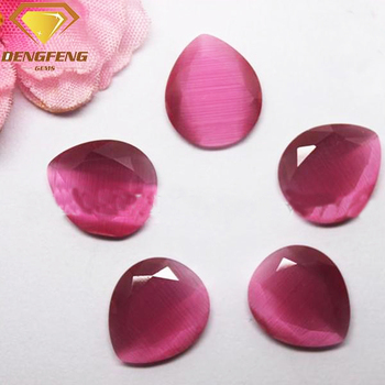 2 Flat Face Cut Gemstone Pear Shape Synthetic Red Cat Eye