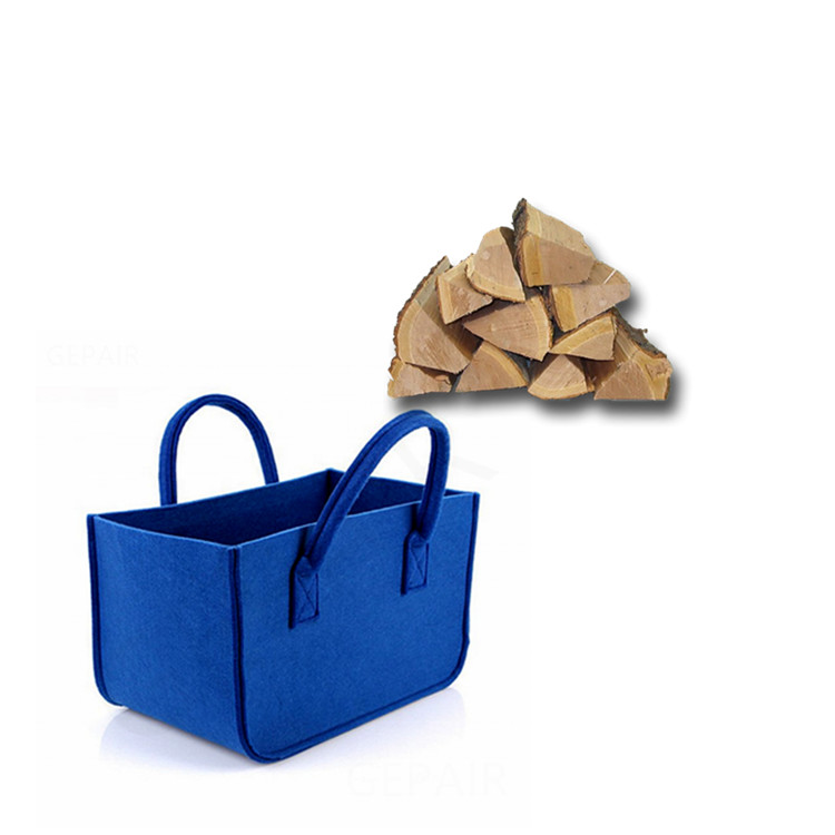 Easy Carrying Dark Gray Felt Firewood Storage Bag With Handles