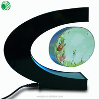 Two sides C shaped magnetic levitation photo frame with LED lights light chic gift delivery