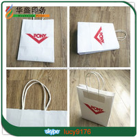 Hot Selling Luxury Recycled White Gift Kraft Paper Bag with Twised Paper Handle