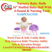 "16""/14"" Stuffed Nursery Baby Doll With Sound & Nursing Tools"