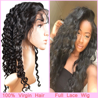natural hai line with baby hair around deep wave hair Brazilian full lace human hair wigs