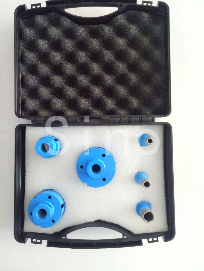 Stone Ceramic Vacuum Brazed Diamond Core Drill Bit Set Iron Package