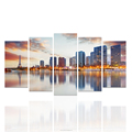 5 Pieces Paris Tower Modern City Photo Canvas Art City Refletion Hotel Living Room Wall Picture Wholesale Ready to Hang/SJMT1982