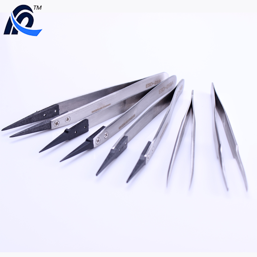 Industrial ESD Stainless Steel Pointed Tweezers with Interchangeable Tip