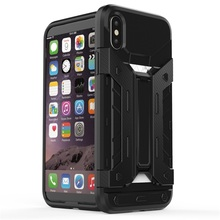 High Quality 4G Mobile Phone Acceessories For iPhone X Case, Rugged Armor Case With Stand & Card Slot