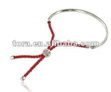 2012 fashion Red rope with silver plated bangle Bracelet