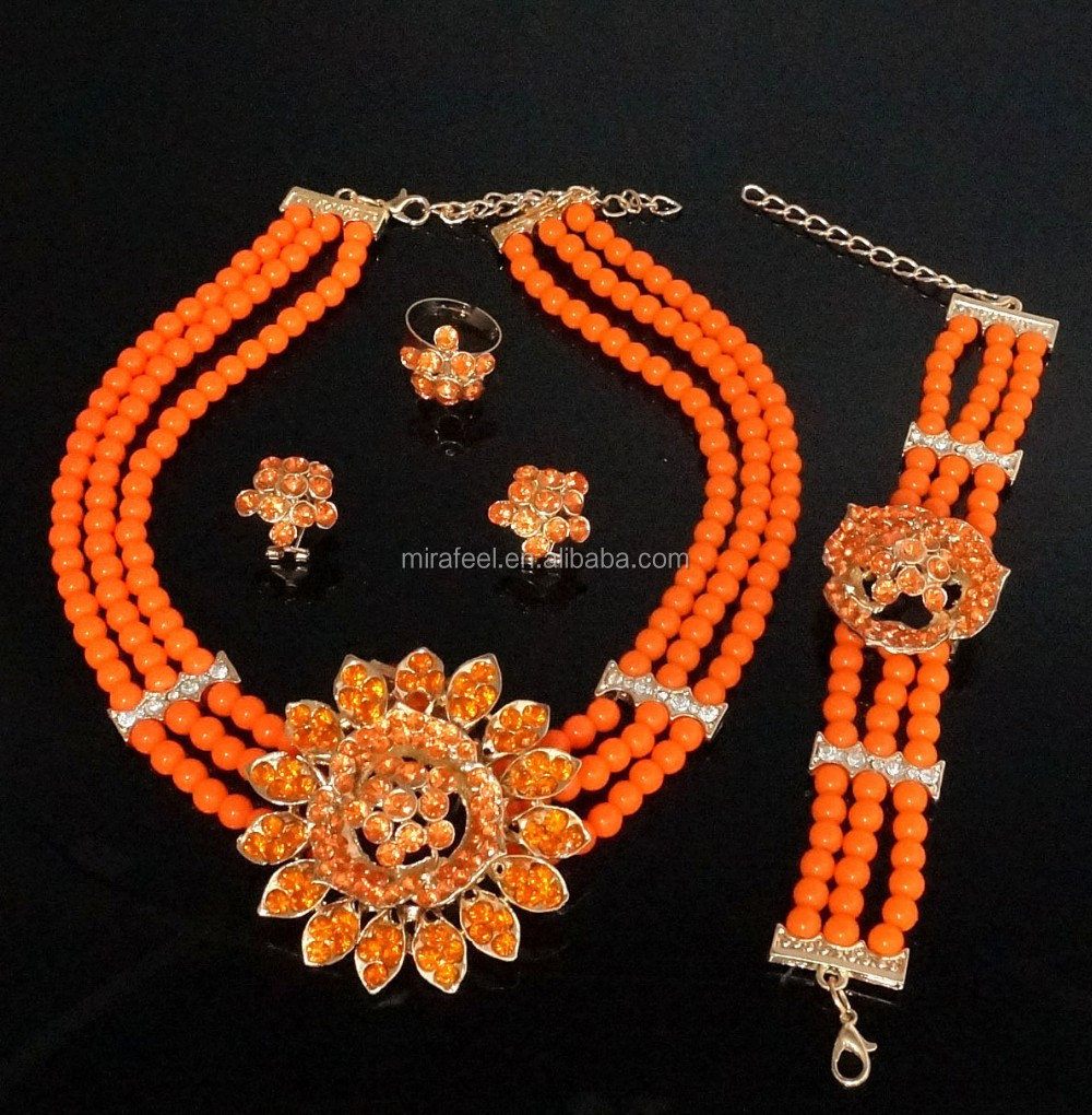 Orange color indian beads jewellery designs necklace