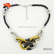 new arrival stylish stretch interlocking loops black string necklace