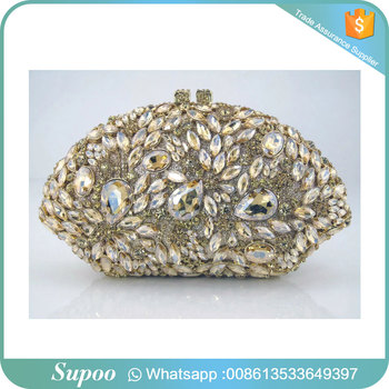 Good reputation golden design crystal handbag women purse clutch bag