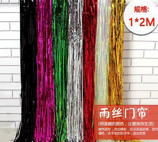 1*2M Metallic Red Foil Fringe Shiny Curtains Background Party Photo Booth Backdrop Wedding <strong>Decorations</strong>