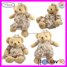 D879 Soft Girl Teddy Bear Wearing Dresses Stuffed Toy Brown Plush Bears with Bowknot