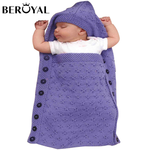 Beroyal New Products Hooded Knitted Polyester Sleeping Bag Baby