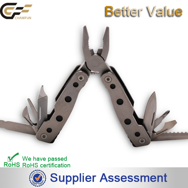 Mirror finished handle mini metallic element plier multi tool/ saw/knife/nail file/type of plier