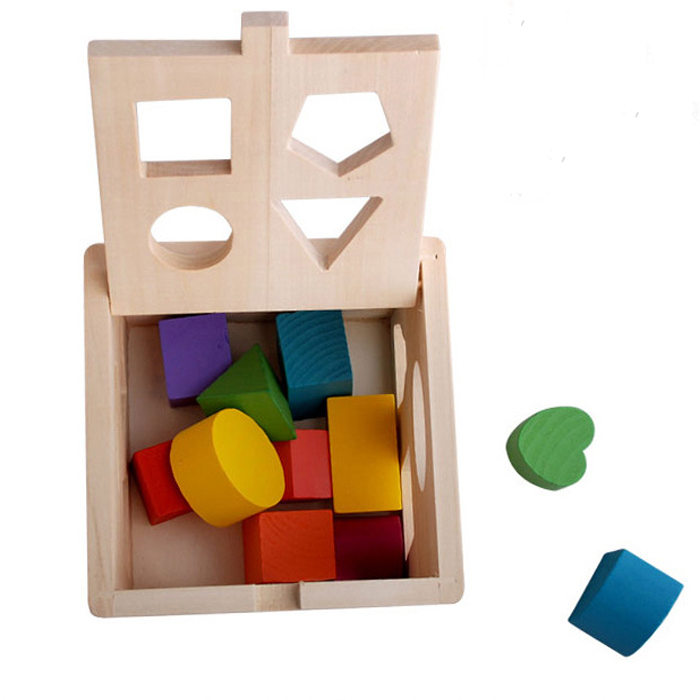 Montessori Toys 13 Hole Wooden Matching Game, Intelligence Cube for Shape Sorter Cognitive and Matching Kids Toy