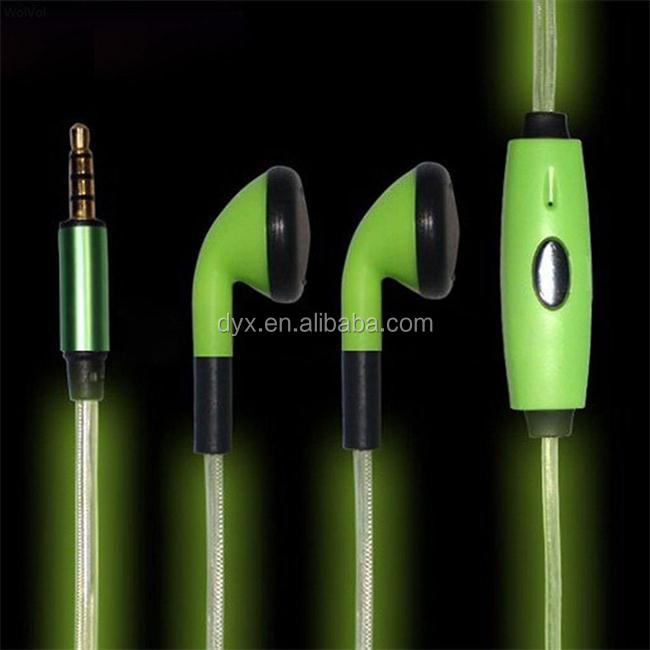 Earphones with Flashing LED lights for Smartphone with 3.5 mm Audio Plug Adapter