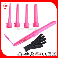 Professional 5 in 1 interchangeable titanium wands curling iron Tourmaline Curling Wand Thermal Switch Timeset Wand Hair Curler