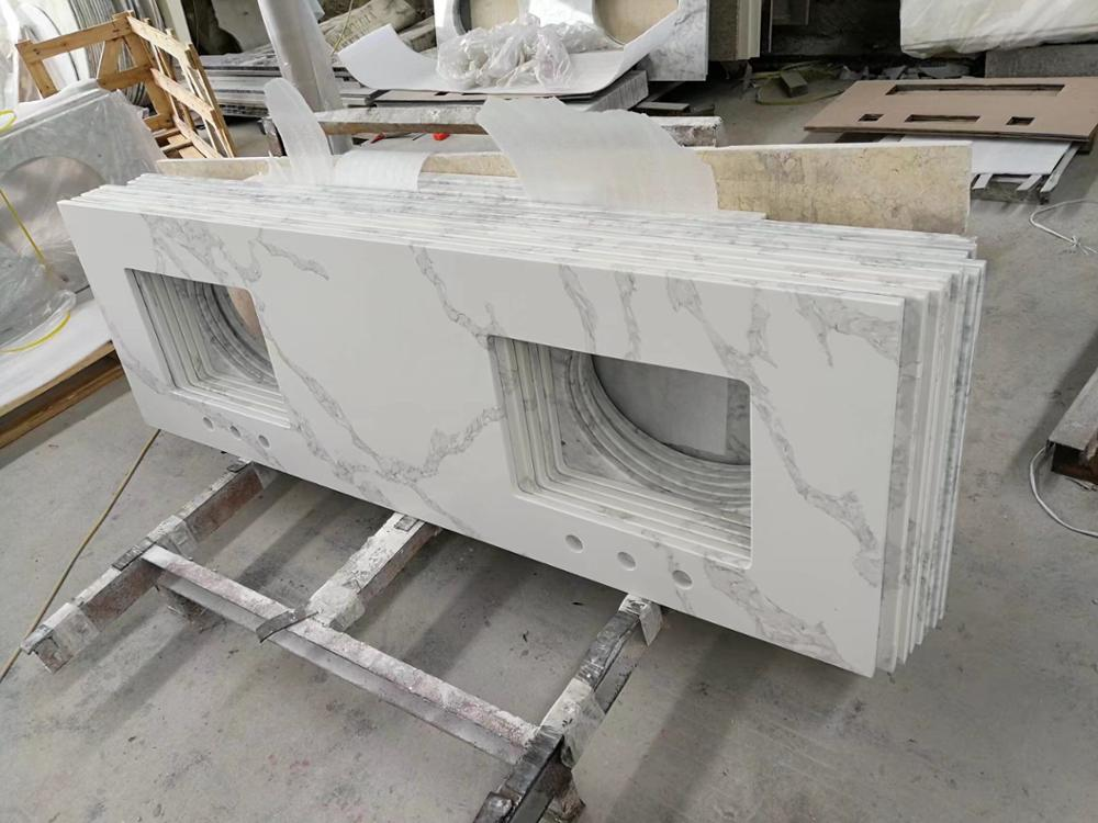 Super white quartz stone Countertop super white quartz bathroom vanity top