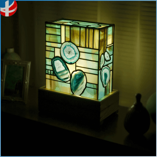 Mosaic stained glass agate wall lamp decoration gemstone agate