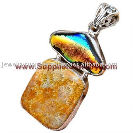 Fossil Coral Dichroic Glass Indian Jewelry Buy Diamonds Online Pendants & Charms
