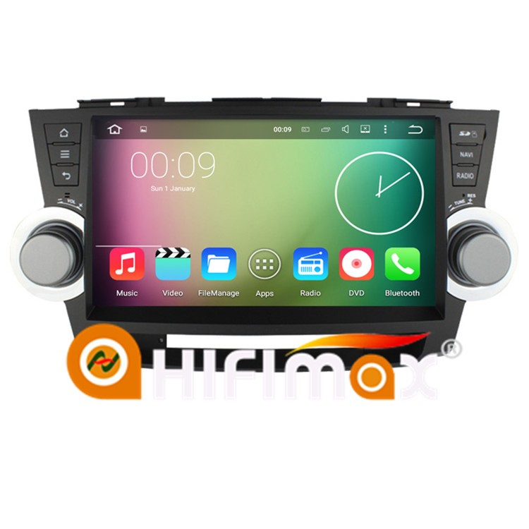 Hifimax New 10.1'' touch screen android 5.1.1 Quad-core 16GB Quad-core in dash car dvd player for toyota highlander 2011-2014