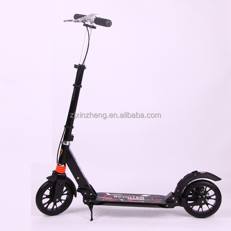 Adult kick scooter with rear disc brake and 200MM big PU wheels on urban street to deal with last mile commute