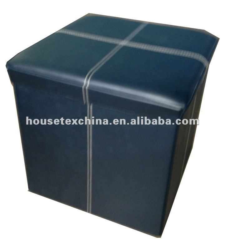 strong! black PVC Leather foldable storage ottoman