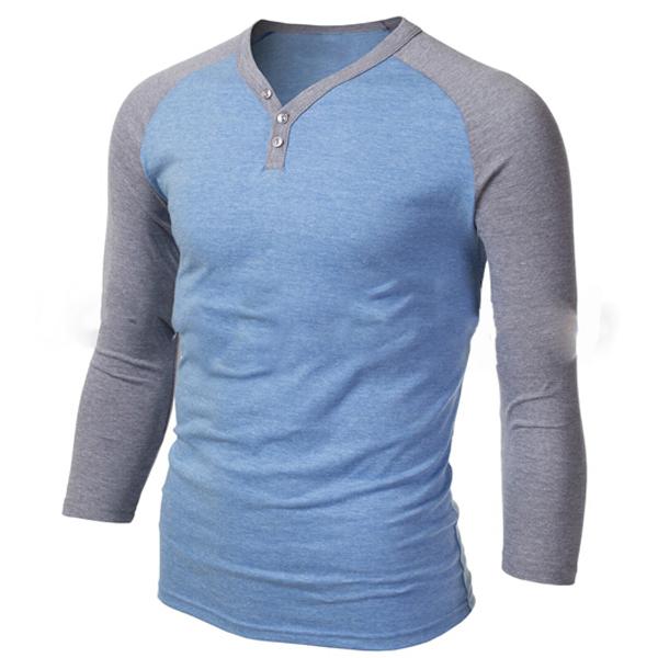 Men's 3/4 sleeve raglan plain cotton t shirt color combination for sale