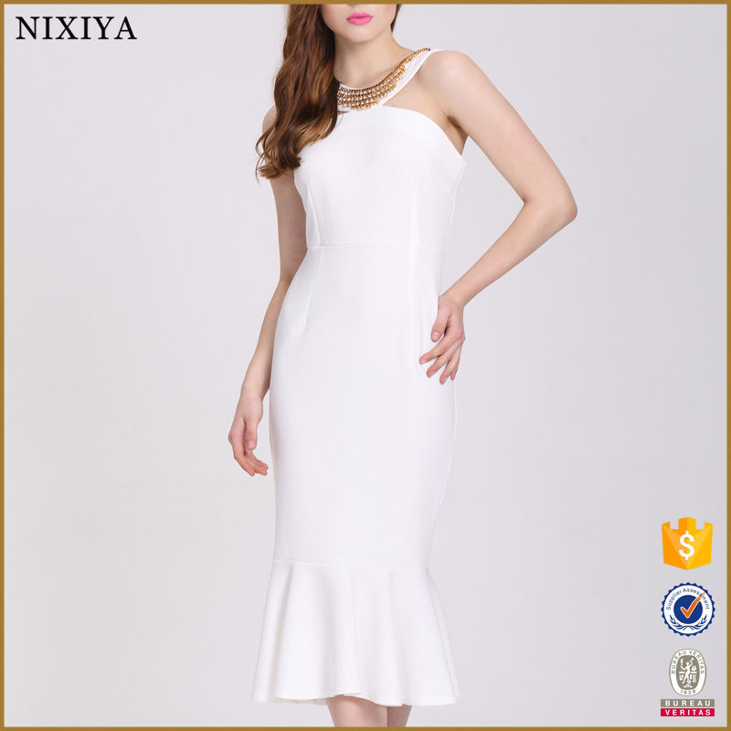 White Elegant Long Dresses Plus Size XXL Sexy Beaded Dresses