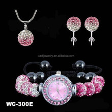 Hot selling jewellry sets wholesale african american jewelry pink clay beaded watch shambala settch