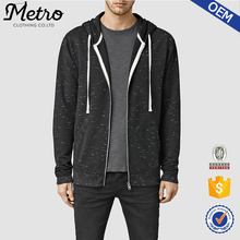 Mens Fashion Heather Black Thin Zipper Hoodies