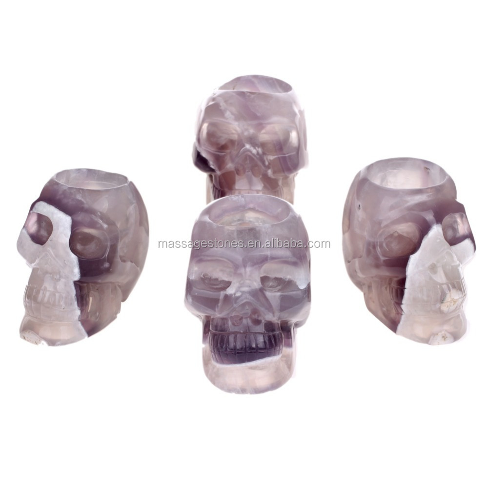 Craved Fluorite jasper Wax Candle Skull