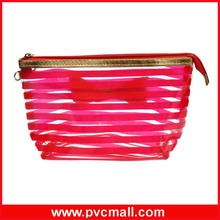 2017 new design fashion custom clear plastic cosmetic make up/makeup bag for travel with stripe colors