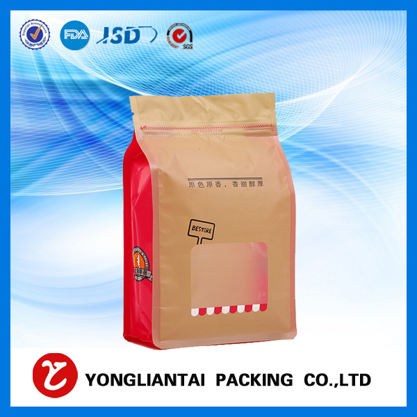 What are the block bottom paper bags flat bottom pouch with window?