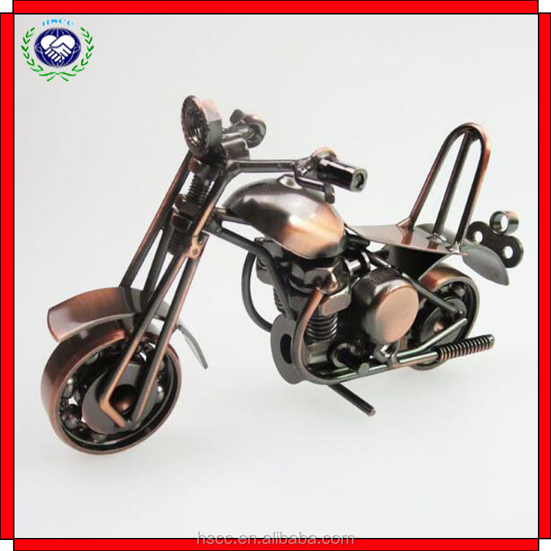 Factory supply high quality old creative metal craft 3D motorcycle model for office household decoration