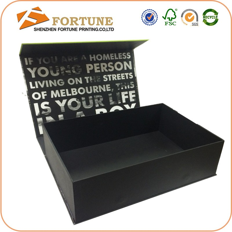 Exquisite Fashinon Design Matte Laminated Black Gift Box Manufacturer