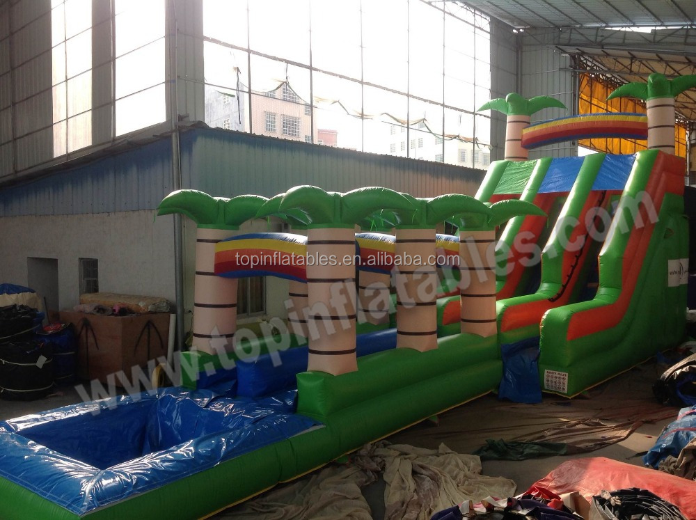 Top inflatable classic pool water slide tropical inflatable wet or dry slide with pool