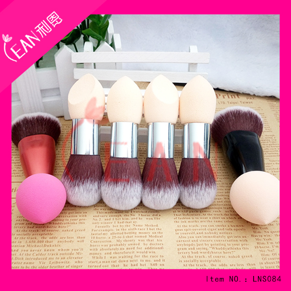 Nylon Brush Material and Aluminium Handle Material oval make up two side brush,double-end brush