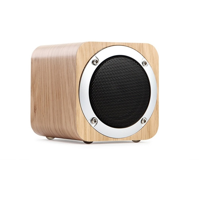 Portable Wood Radio FM Bluetooth Speaker with Subwoofer Mini Desk Wireless Speakers Altavoz with TF Card Aux IN for iPhone 6 6S