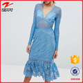 Frill Hem long sleeve prom crochet Lace Midi beach dress