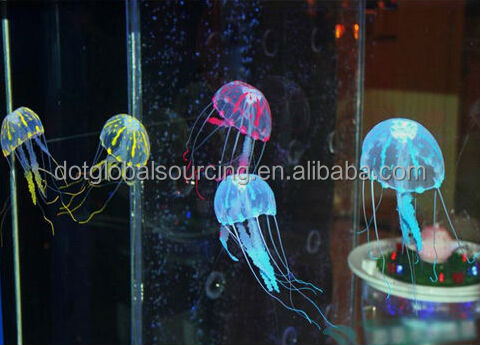 Colorful Aquarium Decorative Fish Tank Ornament Glowing Simulation Jellyfish