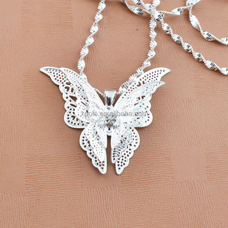 Fashion Silver Plated Butterfly Exquisite Necklace Pendant Jewelry