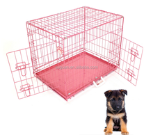 2017 New Design Double Doors Dog Crate Metal Iron Wire Pet House Foldable Dog Cage